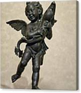 Putto With Dolphin By Verrocchio Canvas Print