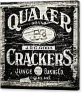 Quaker Crackers Rustic Sign For Kitchen In Black And White Canvas Print