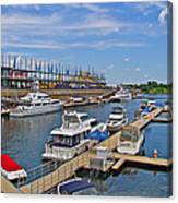 Quays Along Saint Lawrence River In Montreal-qc Canvas Print