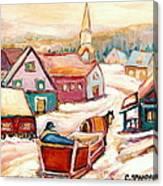 Quebec City Street Scene Caleche Ride In The Village Canvas Print