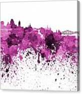 Quebec Skyline In Pink Watercolor On White Background Canvas Print