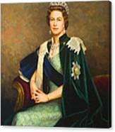 Queen Elizabeth II Portrait - Oil On Canvas Canvas Print