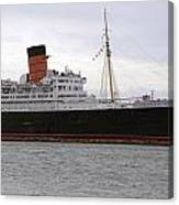 Queen Mary Ocean Liner Starboard Side 05 Long Beach Ca Canvas Print