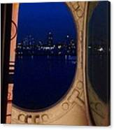 Queen Mary Port Hole Night  Canvas Print
