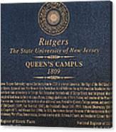 Queen's Campus - Commemorative Plaque Canvas Print