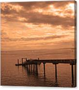 Quiet Peachy Toned Pier Canvas Print
