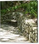 Bench In A Stone Wall Canvas Print