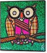 Quilted Mr Owl Esquire Canvas Print