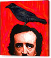 Quoth The Raven Nevermore - Edgar Allan Poe - Painterly - Square Canvas Print