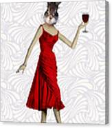 Rabbit In A Red Dress Canvas Print