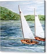 Racing On The Lake Canvas Print