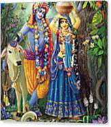 Radha-krishna Radhakunda Canvas Print