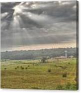 Radiant Light Over The Farm Canvas Print