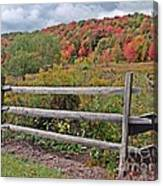 Rail Fence In Autumn Canvas Print