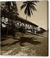 Railroad  Bridge In Sepia Canvas Print