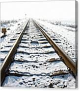 Railroad In Snow Canvas Print