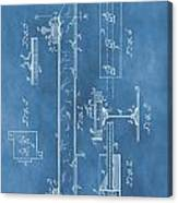 Railroad Tie Patent On Blue Canvas Print