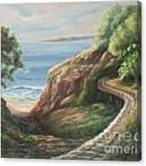 Railroad Track By The Beach Canvas Print