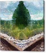 Railroad Tracks Photo Art Canvas Print
