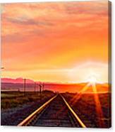 Rails To The Red Sky Canvas Print