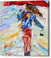 Rain Dance With Red Umbrella Canvas Print