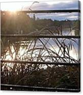 Rain Drops On Railing River View 1 Canvas Print