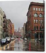 Rain On Water Street 1 Canvas Print