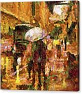 Rain Walk At Night Abstract Canvas Print