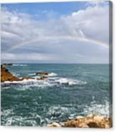 Rainbow Over Cape Dombey Obelisk Canvas Print