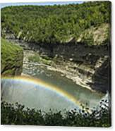 Middle Falls With Rainbow Canvas Print