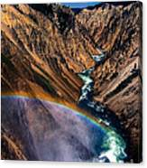 Rainbow At The Grand Canyon Yellowstone National Park Canvas Print