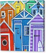 Rainbow Beach Huts Canvas Print