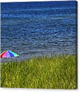 Rainbow Beach Umbrella Canvas Print