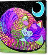 Rainbow Cat Blue Moon Canvas Print