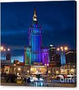 Palace Of Science And Culture In Rainbow Colors  Canvas Print