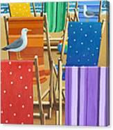 Rainbow Deckchairs Canvas Print