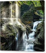 Rainbow Falls Square Canvas Print
