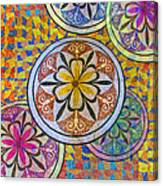Rainbow Mosaic Circles And Flowers Canvas Print