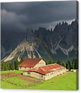 Rainbow Over Casera Vedorcia Dolomites Canvas Print