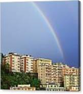 Rainbow Over The Town Canvas Print