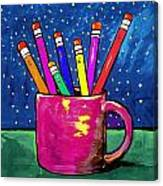 Rainbow Pencils In A Cup Canvas Print
