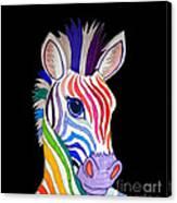 Rainbow Striped Zebra 2 Canvas Print