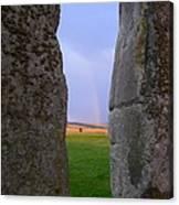 Rainbow Through Stonehenge Sarsens Canvas Print