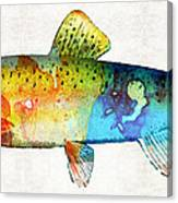 Rainbow Trout Art By Sharon Cummings Canvas Print