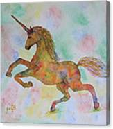 Rainbow Unicorn In My Garden Original Watercolor Painting Canvas Print