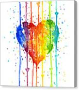 Rainbow Watercolor Heart Canvas Print