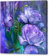 Raindrops On Lavender Roses Canvas Print