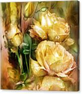 Raindrops On Yellow Roses Canvas Print