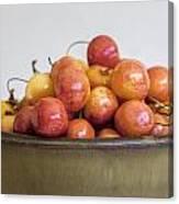 Rainier Cherries And Ceramic Bowl Canvas Print