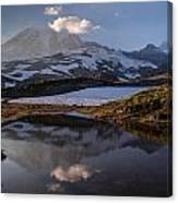 Rainier Reflected In A Glacial Tarn Canvas Print